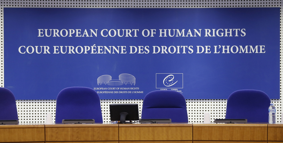 A view shows the courtroom of the European Court of Human Rights ahead of the start of an hearing concerning the case of Vincent Lambert in Strasbourg